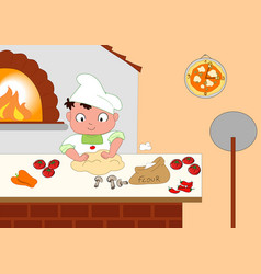 Young pizza maker vector