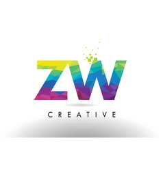 Zw z w colorful letter origami triangles design vector