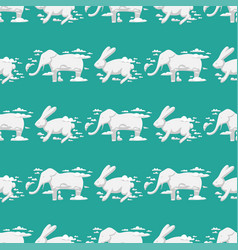 Animal clouds silhouette rabbit seamless pattern vector