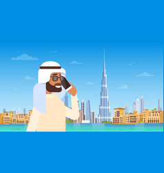 Arab man speaking on cell smart phone call over vector