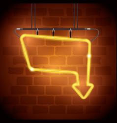arrow neon label icon vector image