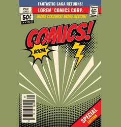 comic book background with cartoon burst vector image vector image