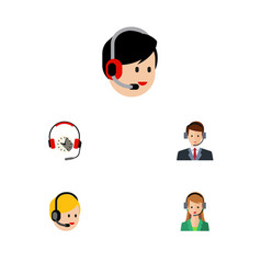 flat telemarketing set of operator hotline vector image vector image