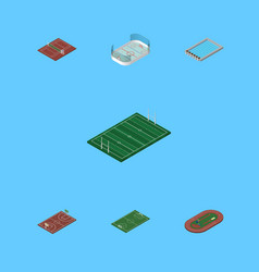 isometric lifestyle set of ice games run stadium vector image vector image