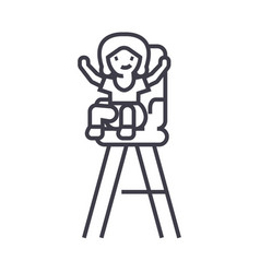 kid in child chair line icon sign vector image