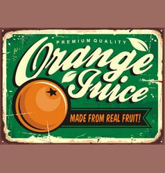 orange juice vintage tin sign vector image vector image
