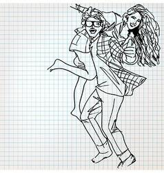 Young couple having fun sketch vector image