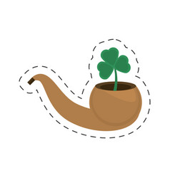 cartoon st patricks day tobacco pipe clover vector image