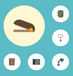 Flat icons contact desk light calculate and vector