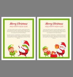 merry christmas elf and santa vector image