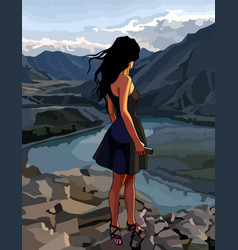 cartoon woman looks at the river valley vector image vector image