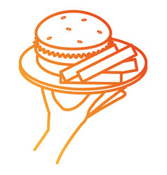 hand with french fries and burger vector image vector image