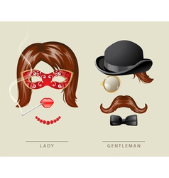 lady and gentleman costume vector image vector image