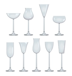 Types of Wine and Glasses Description Set of types vector image vector image
