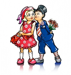 couple of small kissing children vector image