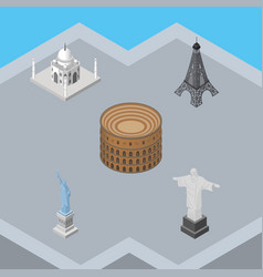 isometric travel set of coliseum india mosque vector image
