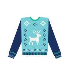 Ugly christmas sweater with knitted deer vector