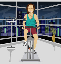 Young man on an exercise bike in gym in evening vector