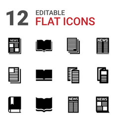 12 publication icons vector image