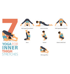 7 yoga poses for inner thigh stretch concept vector