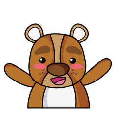 Adorable and cheerful bear wild animal vector