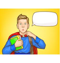 Amazed schoolboy student pop art portrait vector
