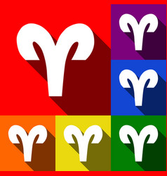 Aries sign set icons vector