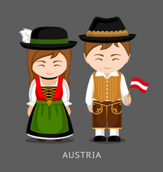 austrians in national dress with a flag vector image