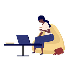 Beautiful business woman works on laptop vector
