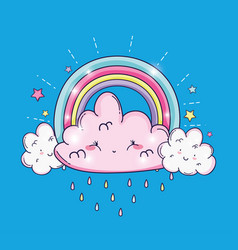 beauty rainbow with cute fluffy clouds vector image