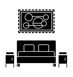 Bedroom icon sign o vector