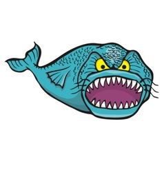 Big angry fish vector
