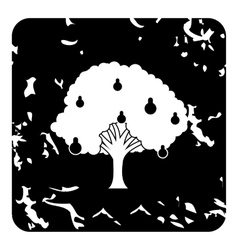 Big pear tree icon grunge style vector