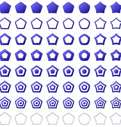 Blue pentagon shape polygon icon set vector