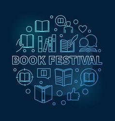 book festival concept blue round linear vector image