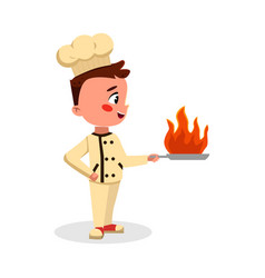 Boy professional chef character holding pan with vector