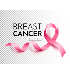 Breast cancer awareness poster pink ribbon vector