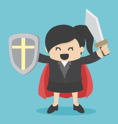 Business woman holding sword vector