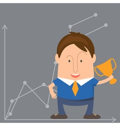 Businessman Cartoon with a Trophy vector
