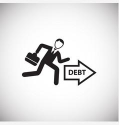 businessman runs to debts on white background vector image