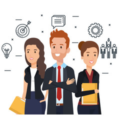 businesspeople with human resources set icons vector image