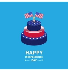Cake with star and strip two flags Happy vector image