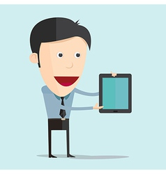 cartoon with tablet flat design vector image