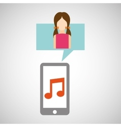 Character pink dress smartphone music application vector