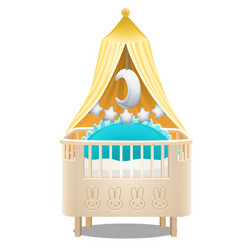 children wooden four-poster bed isolated on white vector image