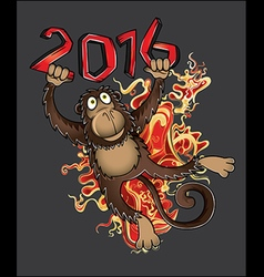 Chinese year of the Monkey with fire flames vector