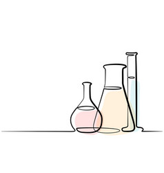 continuous one line drawing chemical lab retorts vector image