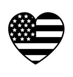 Contour nice heart with usa flag inside vector