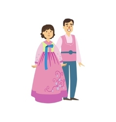 Couple In Korean National Clothes vector