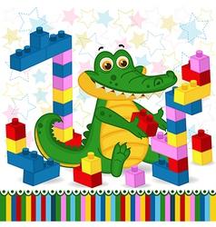 Crocodile construction plastic block vector